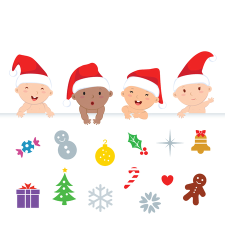 new icon: Christmas babies. Adorable babies with Christmas icons.