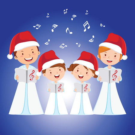cartoon singing: Christmas Carols. Children choir singing.