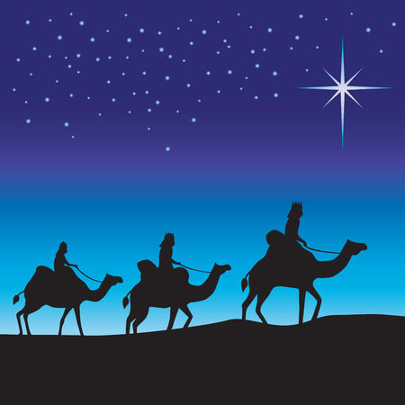 Three wise men silhouette. Three wise men on camels following the star. Ilustracja