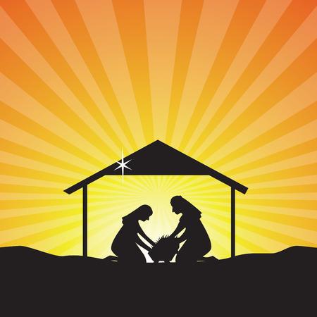 아기 예수는 실루엣을 탄생. 구유에있는 아기 예수의 탄생 장면 동정녀 마리아와 요셉.