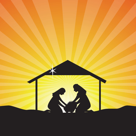 joseph: Baby Jesus born silhouette. Nativity scene of baby Jesus in the manger the virgin Mary and Joseph.
