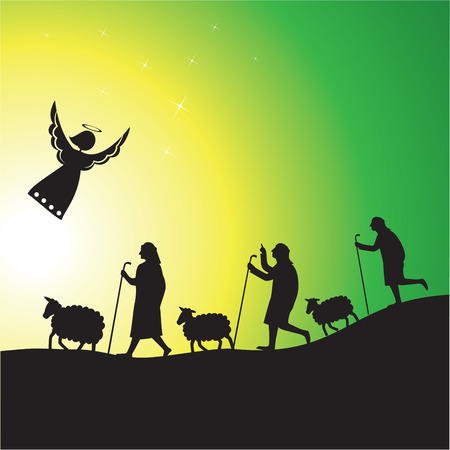 pastor: Pastores y ángel silueta. Escena de la Natividad de ángel y los pastores con sus rebaños.
