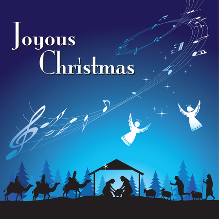 christmas angels: Joyous Christmas. illustration the traditional Christian Christmas Nativity scene. Illustration