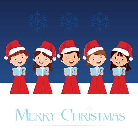 cartoon singing: Christmas Choir. Christmas Carols. Illustration