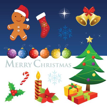 ginger bread man: Christmas elements. Merry Christmas! Illustration