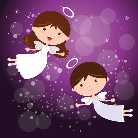 baptism: Angels with purple sky. illustration of two little dancing angels with sparkles design elements.