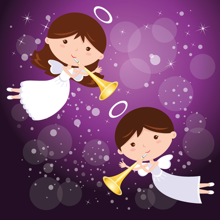 announcing: Angels with trumpet and purple background. Little angels announcing with trumpet, on sparkles design elements background. Illustration