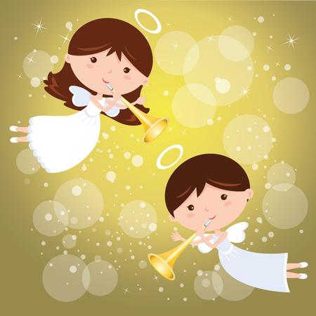 トランペットと天使。小さな天使が輝くデザイン要素背景にトランペットと発表します。  イラスト・ベクター素材