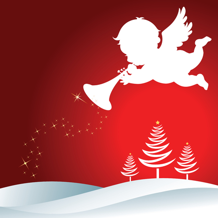 christmas cute: Christmas Angel with trumpet. Christmas Angel with trumpet Silhouette on Christmas background. Illustration