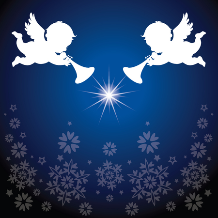 Angles with Christmas elements. Snowflakes background.