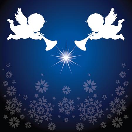 크리스마스 요소와 각도. 눈송이 배경입니다. 일러스트