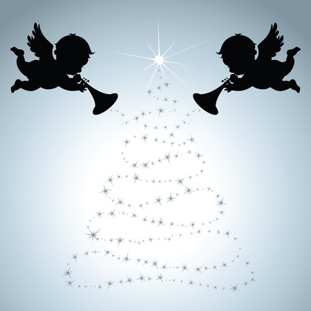 silver background: Christmas Angels with silver background