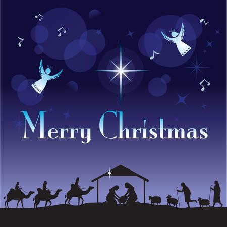 The Glory of Christmas. Vector illustration the traditional Christian Christmas Nativity scene.