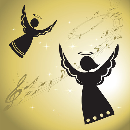 christmas angels: Singing angels silhouettes. Singing angels with musical notes. Illustration