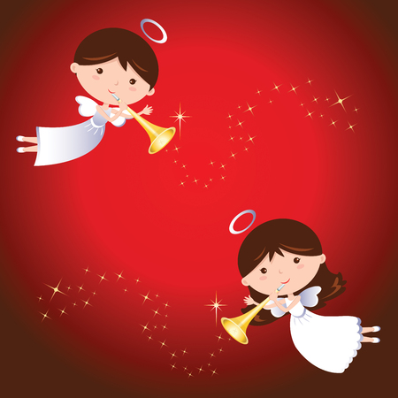 christmas angels: Christmas angels. Angels with trumpet with sparkles design elements. Illustration