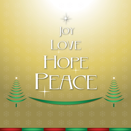 bright christmas tree: Joy love hope peace Christmas. Gold background.