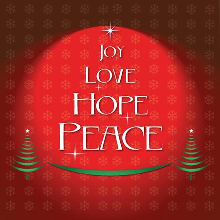 hopes: Joy love hope peace Christmas. Red background.