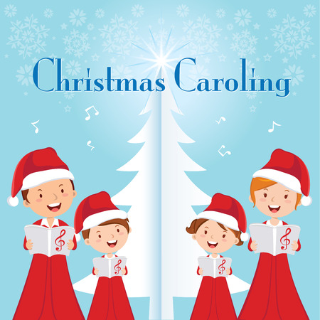 choir: Family Christmas Caroling. Family choir. Illustration