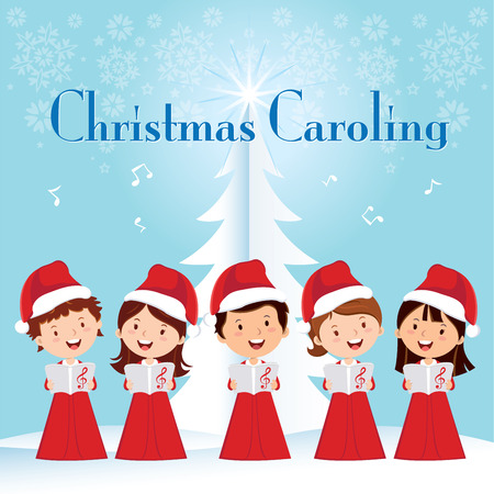 child singing: Children Christmas Caroling. Children choir singing.