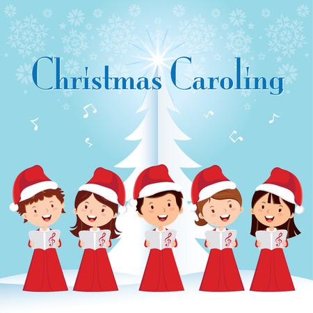 coro: Los niños Villancicos de Navidad. Niños coro cantando. Vectores