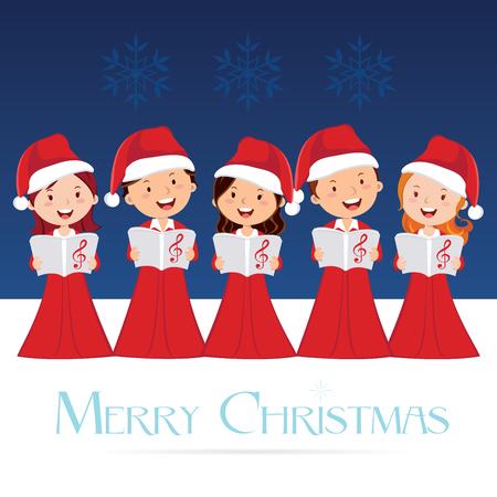 合唱団。クリスマス コンサート。クリスマスキャロル。  イラスト・ベクター素材