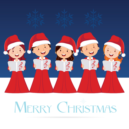 성가대. 크리스마스 콘서트. 크리스마스 캐롤. 일러스트