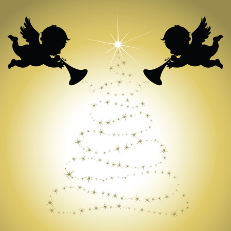 Save to a light box  Find Similar Images  Share Stock Illustration: Christmas Angels with gold background Illustration
