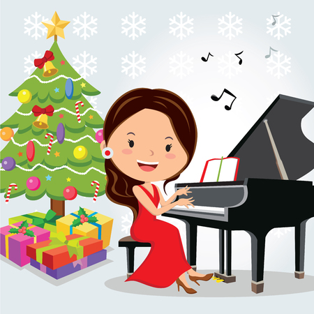 chrismas background: Christmas piano recital. illustration of of a pretty young girl having a Christmas piano recital or Christmas concert.