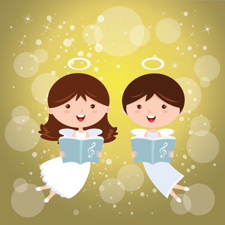 joyfully: Angels singing joyfully Illustration