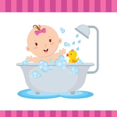bebe sentado: Belleza de baño niña. Bebé lindo sonriendo mientras habla un baño.