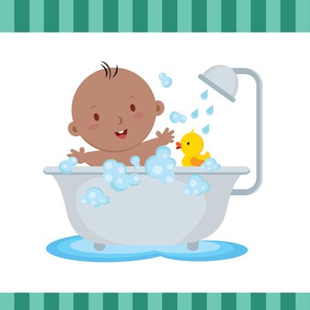 boy bath: Cute baby boy bath. Cute baby boy taking a bath in tub.