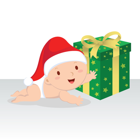 crawling: Cute baby boy with Christmas gift. Christmas baby boy crawling to the gift box.