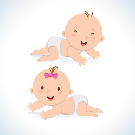 Bambino sveglio che striscia. Cute baby ragazzo e ragazza strisciando in un pannolino. Archivio Fotografico - 48716614