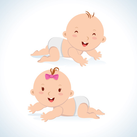 Cute baby crawling. Cute baby boy and girl crawling in a diaper.