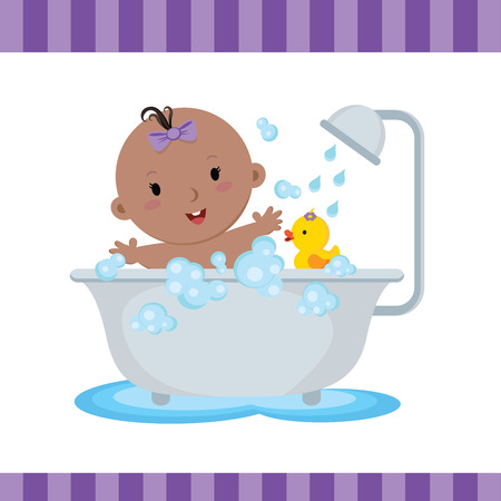 cartoon bathing: Cute baby girl bath. Cute baby boy taking a bath in tub.