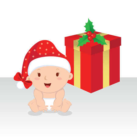 cute baby: Cute baby girl with Christmas gift. Christmas baby girl with gift box. Illustration
