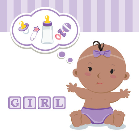 baby girl: Cute baby girl. Its a girl! Illustration