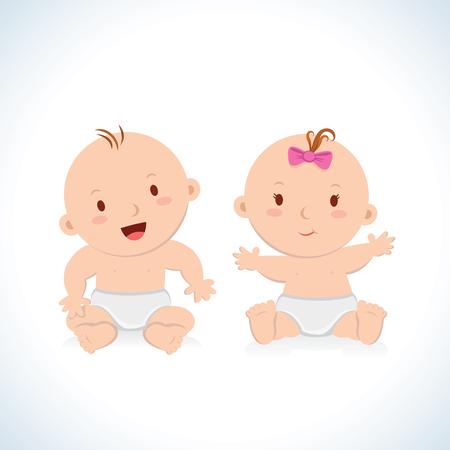 kisbabák: Aranyos gyerek ül. Aranyos baba fiú és lány ül egy pelenka.