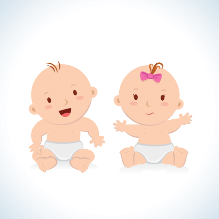 beautiful girl cartoon: Cute baby sitting. Cute baby boy and girl sitting in a diaper.