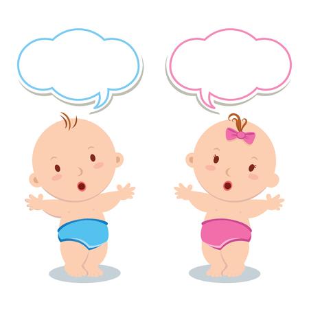 gemelos niÑo y niÑa: lindo pie bebé. lindo niño y una niña de pie en un pañal.