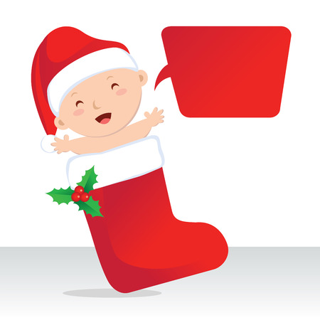 christmas stocking: Cute Christmas stocking baby. Cute baby in Christmas stocking with speech bubble.