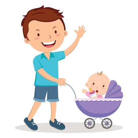 father: Father with baby in stroller. Young father pushing baby girl in pram with milk bottle.