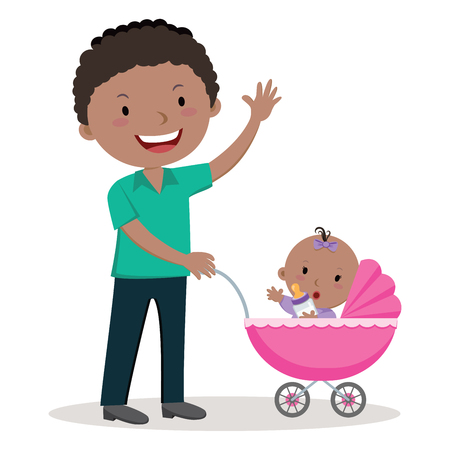 fatherhood: Father with baby stroller. Young father pushing baby girl in pram with milk bottle.