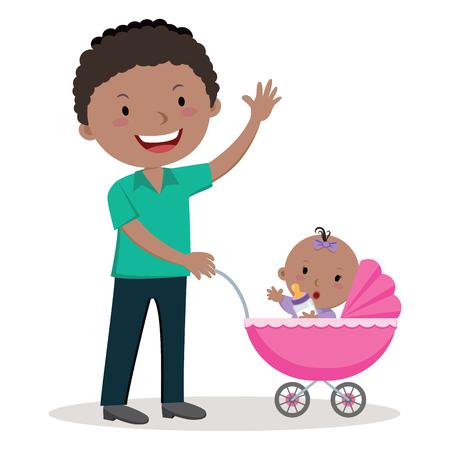 Vader met kinderwagen. Jonge vader duwen babymeisje in kinderwagen met melk fles. Stock Illustratie