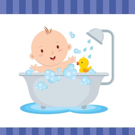 Baño feliz del bebé. Lindo bebé sonriendo mientras habla un baño. Vectores