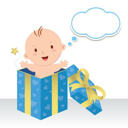 kisbabák: Egy kisfiú. Csodálatos édes ajándék. Az élet egy értékes ajándék. Aranyos kisfiú egy díszdobozban gondolkodás buborék.