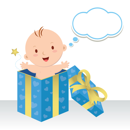 Is a baby boy. Wonderful sweet gift. Life is a precious gift. Cute baby boy in a gift box with thinking bubble. Stock Illustratie