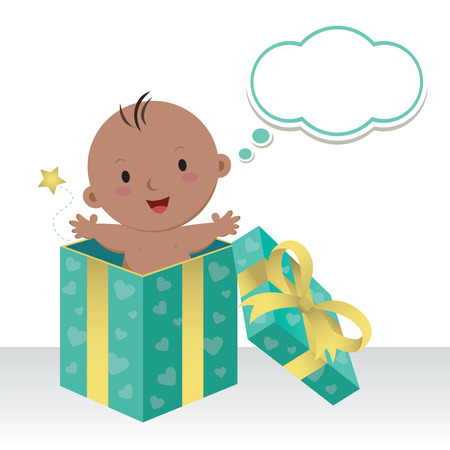 thinking bubble: Is a baby boy. Wonderful sweet gift. Life is a precious gift. Cute baby boy in a gift box with thinking bubble. Illustration