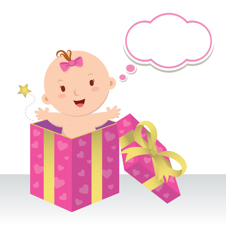 Is a baby girl. Wonderful sweet gift. Life is a precious gift. Cute baby girl in a gift box with thinking bubble.