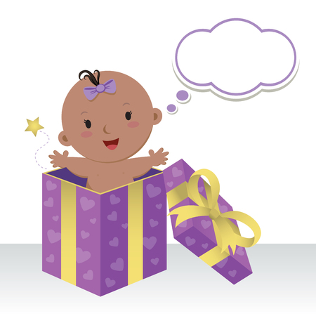wonderful: Is a baby girl. Wonderful sweet gift. Life is a precious gift. Cute baby girl in a gift box with thinking bubble.